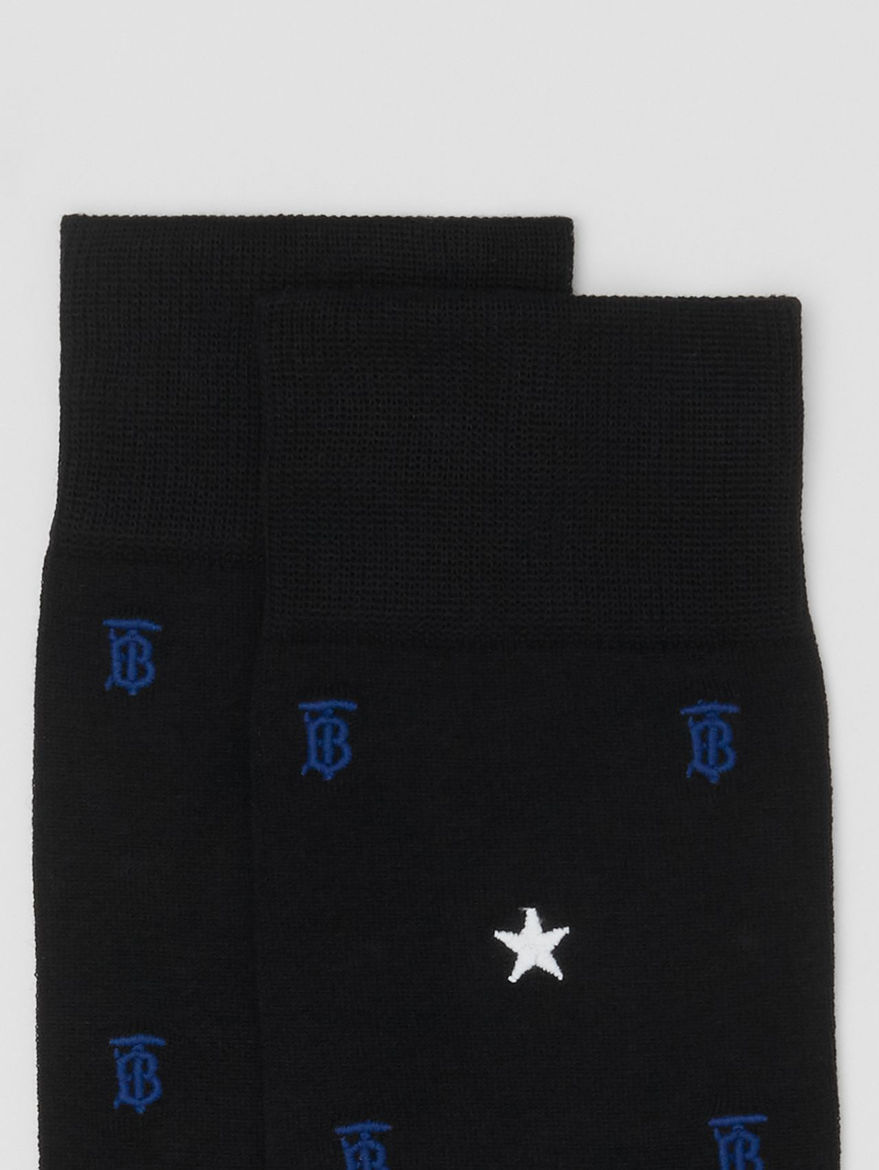 Star and Monogram Motif Cotton Blend Socks in Black