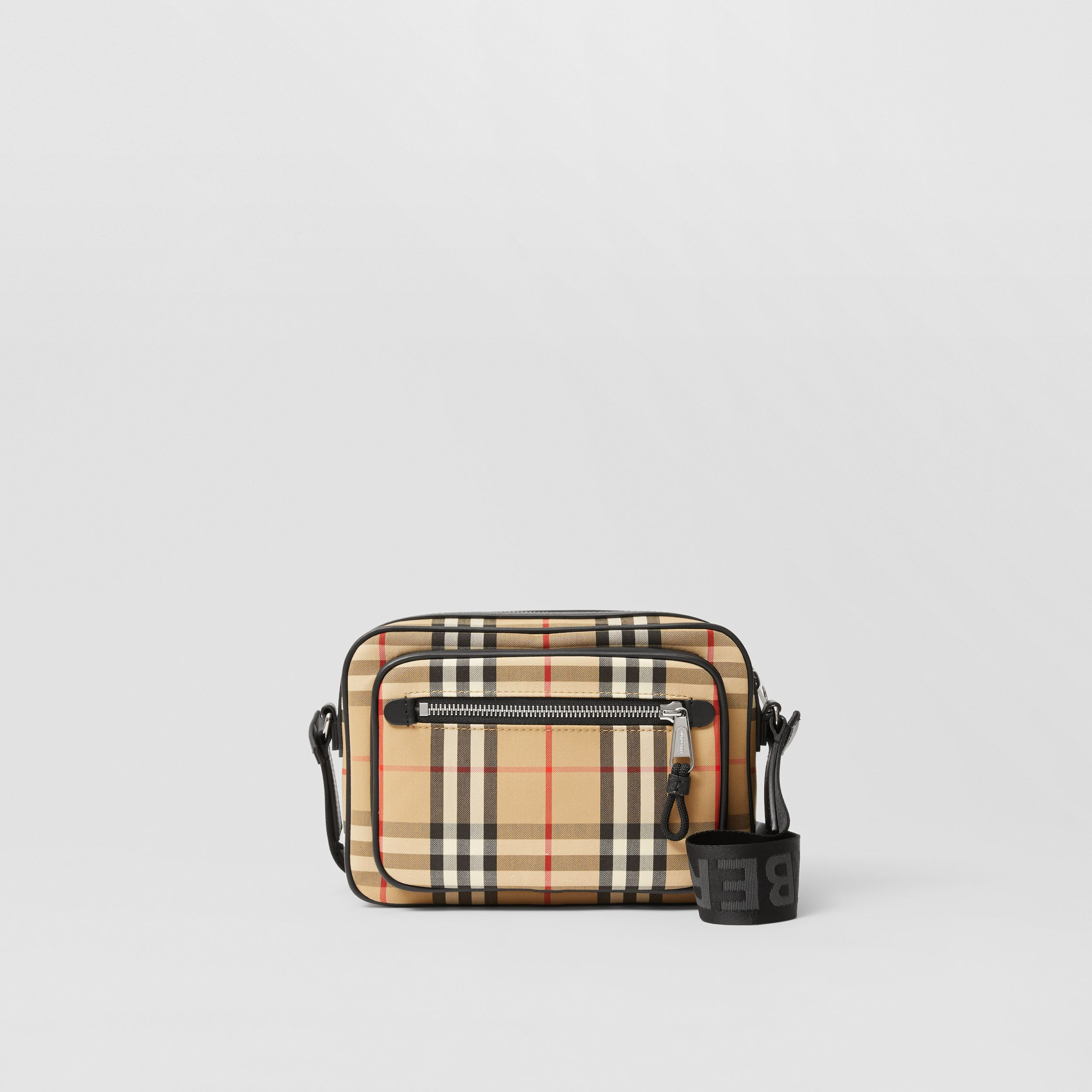 Vintage Check and Leather Crossbody Bag in Archive Beige - Men | Burberry - 1