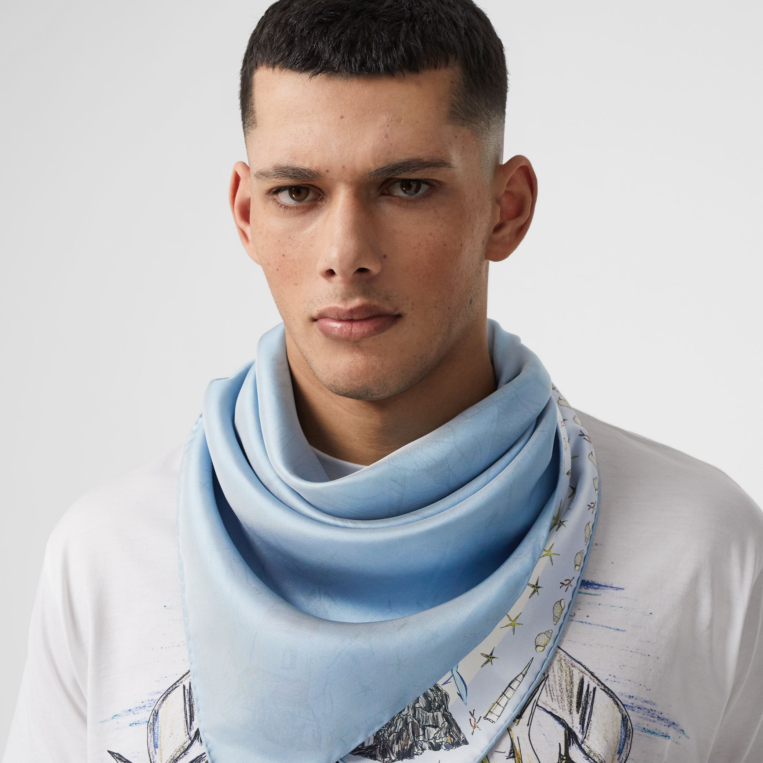 Marine Sketch Print Silk Square Scarf in White | Burberry - 4