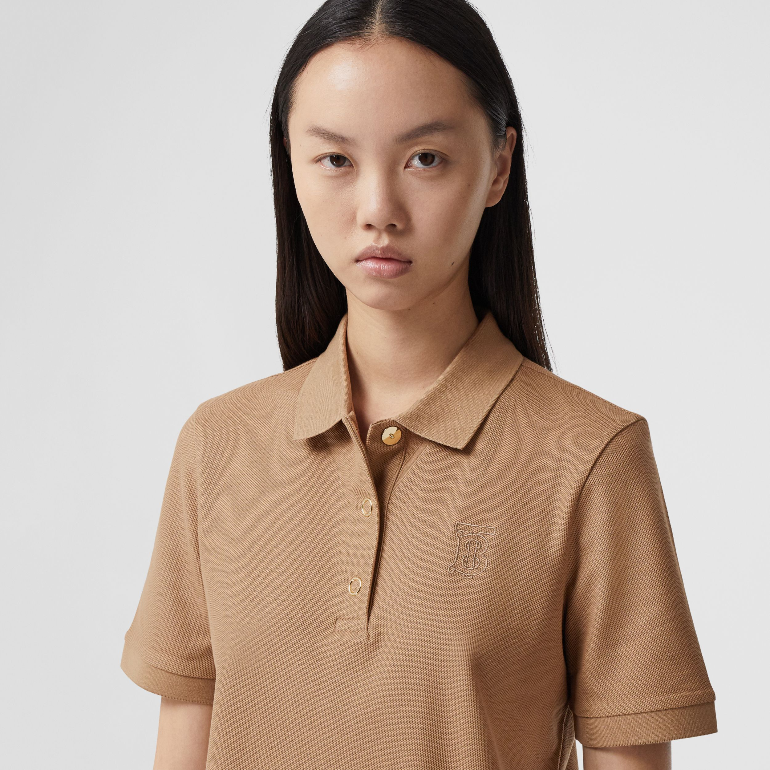 Monogram Motif Cotton Piqué Polo Shirt in Camel - Women | Burberry Hong Kong S.A.R. - 2