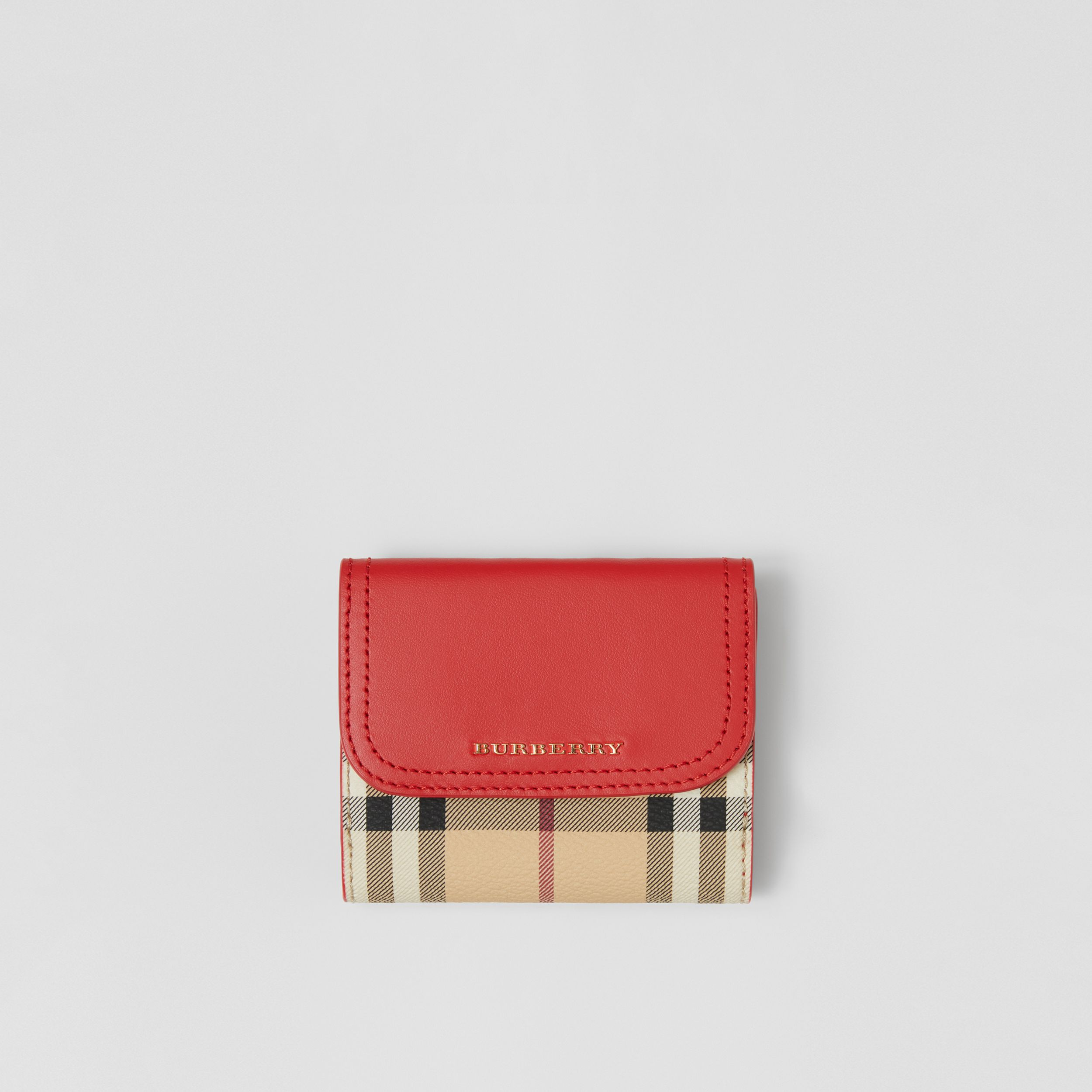 Haymarket Check E-canvas and Leather Wallet in Bright Red - Women | Burberry - 1