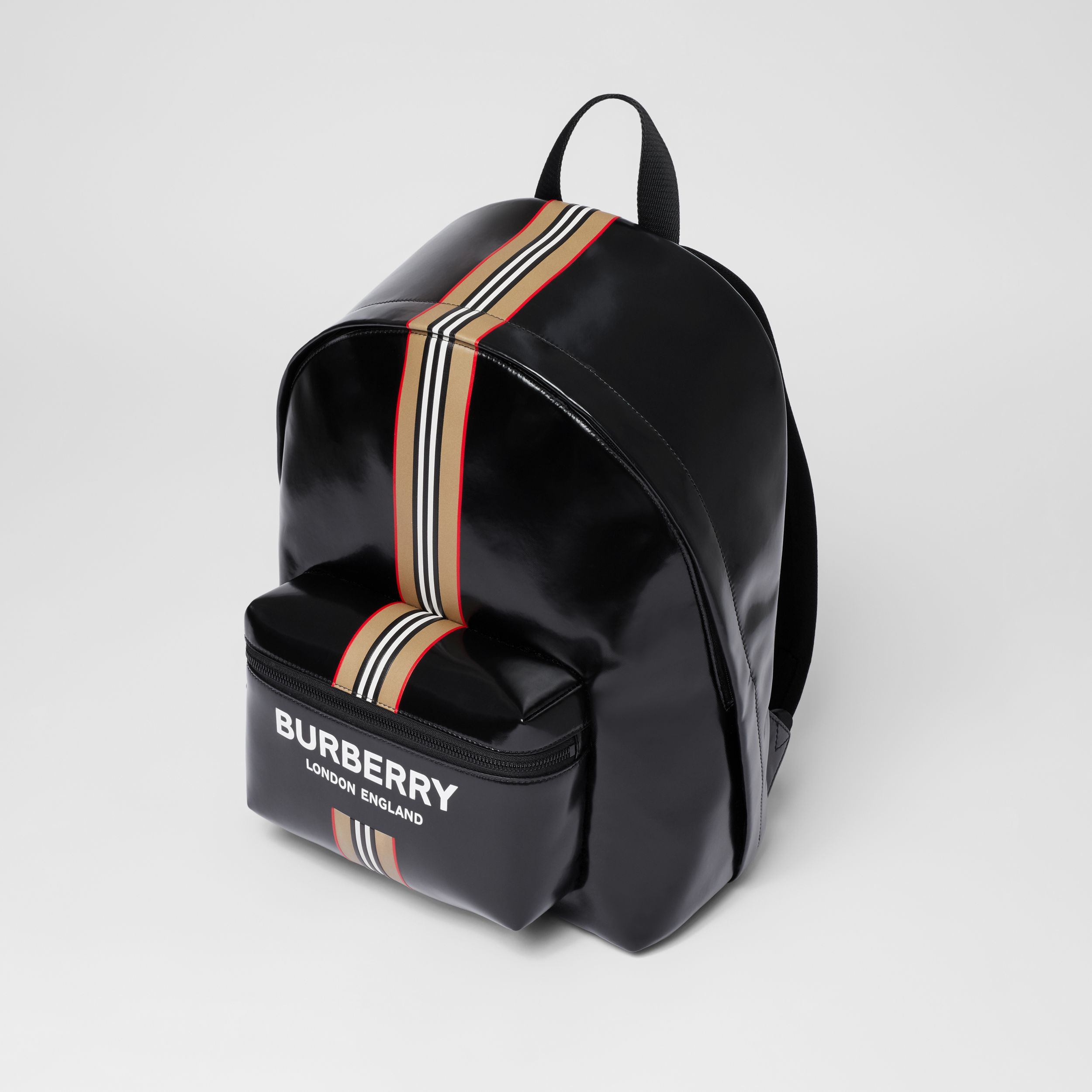 Logo and Icon Stripe Print Backpack in Black - Men | Burberry - 4