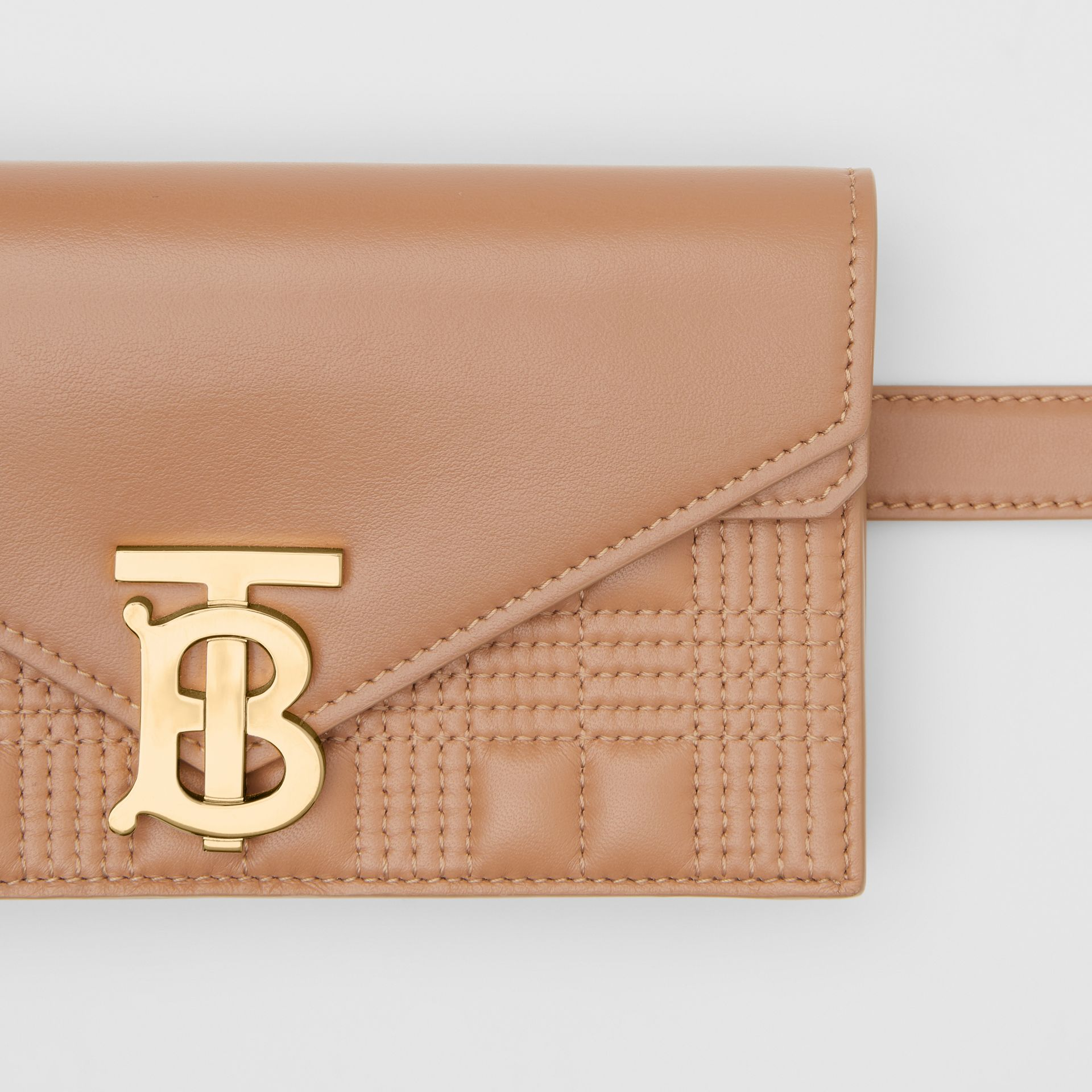 Belted Quilted Lambskin TB Envelope Clutch in Warm Camel - Women | Burberry Canada - gallery image 1