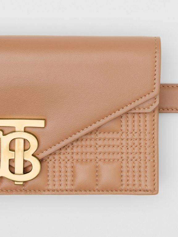 Belted Quilted Lambskin TB Envelope Clutch in Warm Camel - Women | Burberry Canada - cell image 1