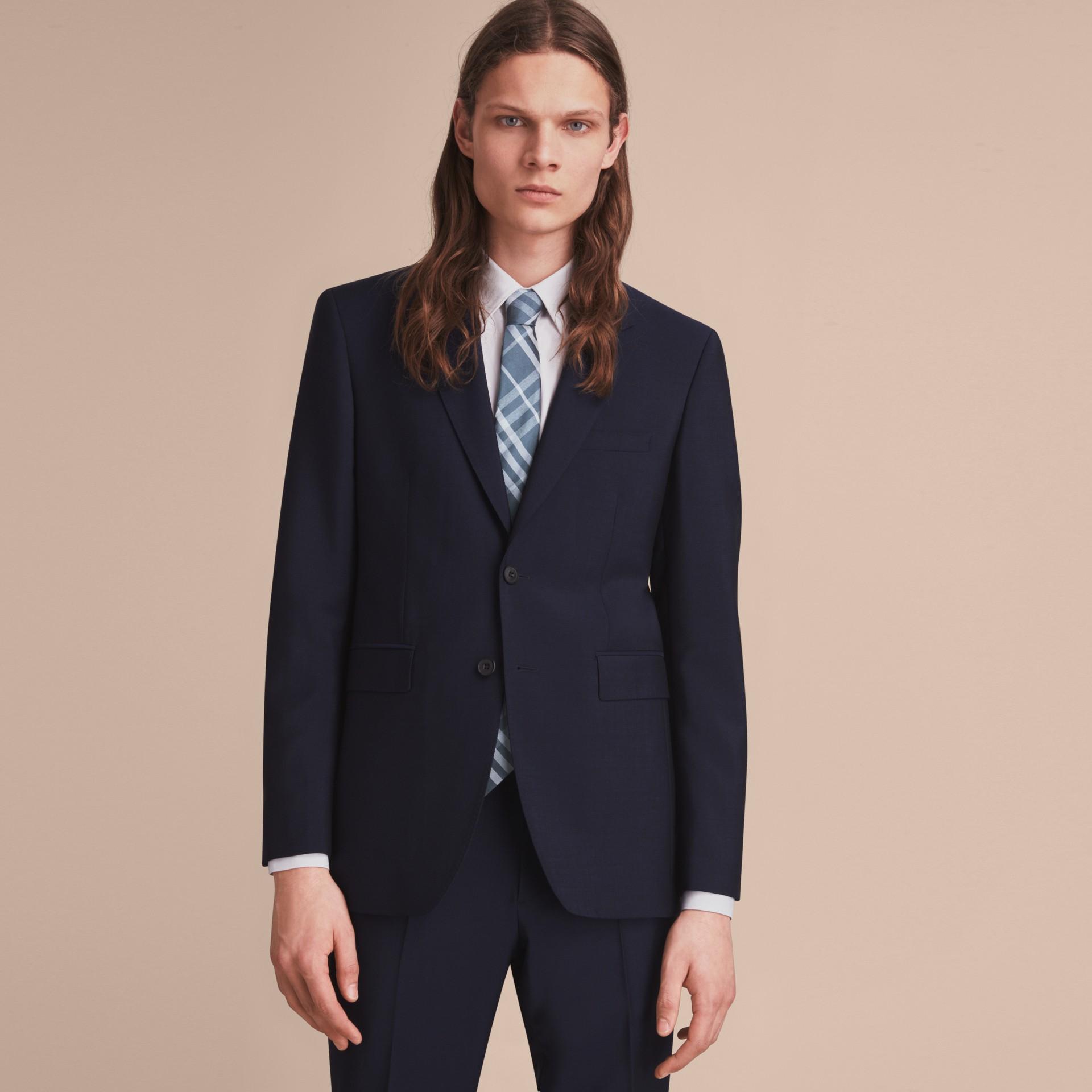 Modern Cut Check Jacquard Silk Tie Hydrangea Blue - gallery image 3