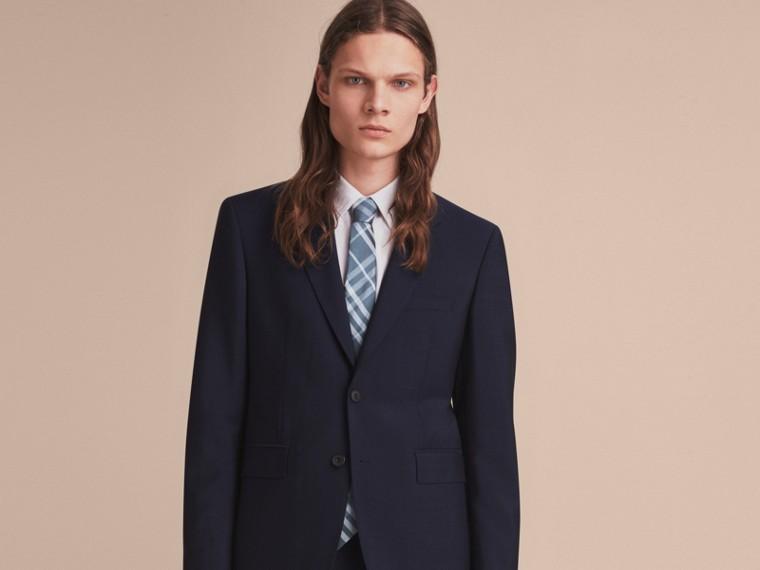 Modern Cut Check Jacquard Silk Tie Hydrangea Blue - cell image 2