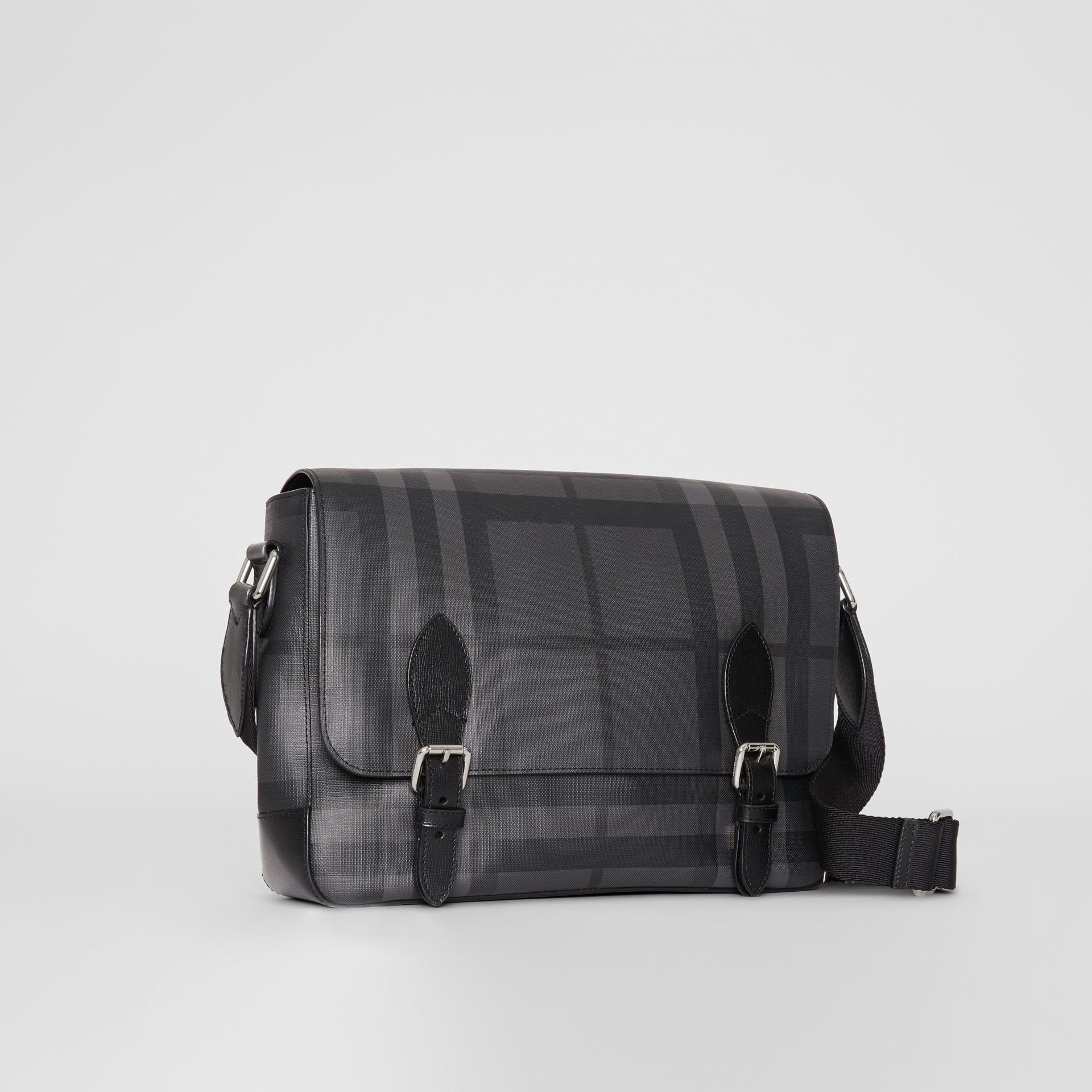 Medium Leather Trim London Check Messenger Bag in Charcoal/black - Men | Burberry Canada - gallery image 6