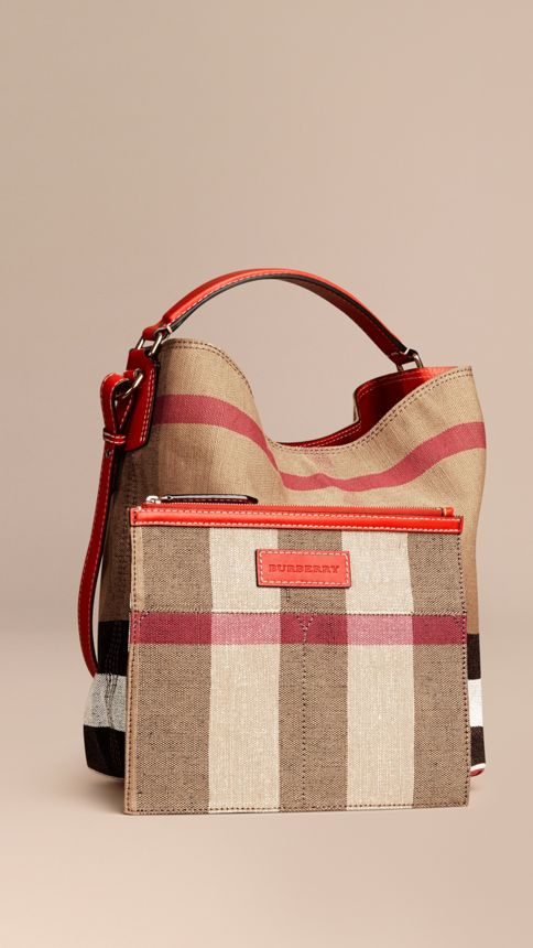 Cadmium red The Medium Ashby in Canvas Check and Leather Cadmium Red - Image 4