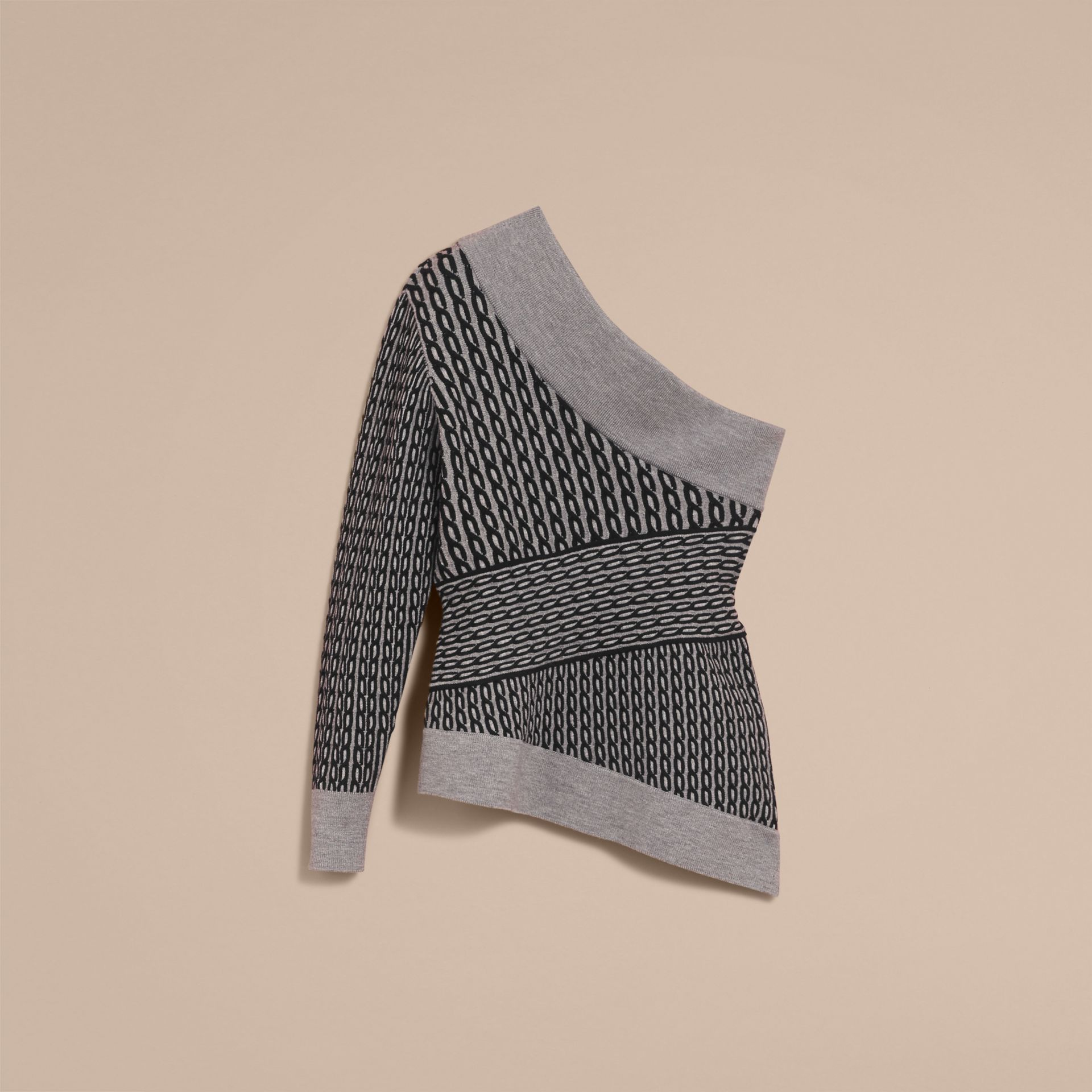 Cable Knit Wool Blend One-shoulder Sweater in Grey Melange/black - Women | Burberry - gallery image 4