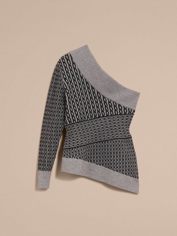 Cable Knit Wool Blend One-shoulder Sweater in Grey Melange/black - Women | Burberry - cell image 3
