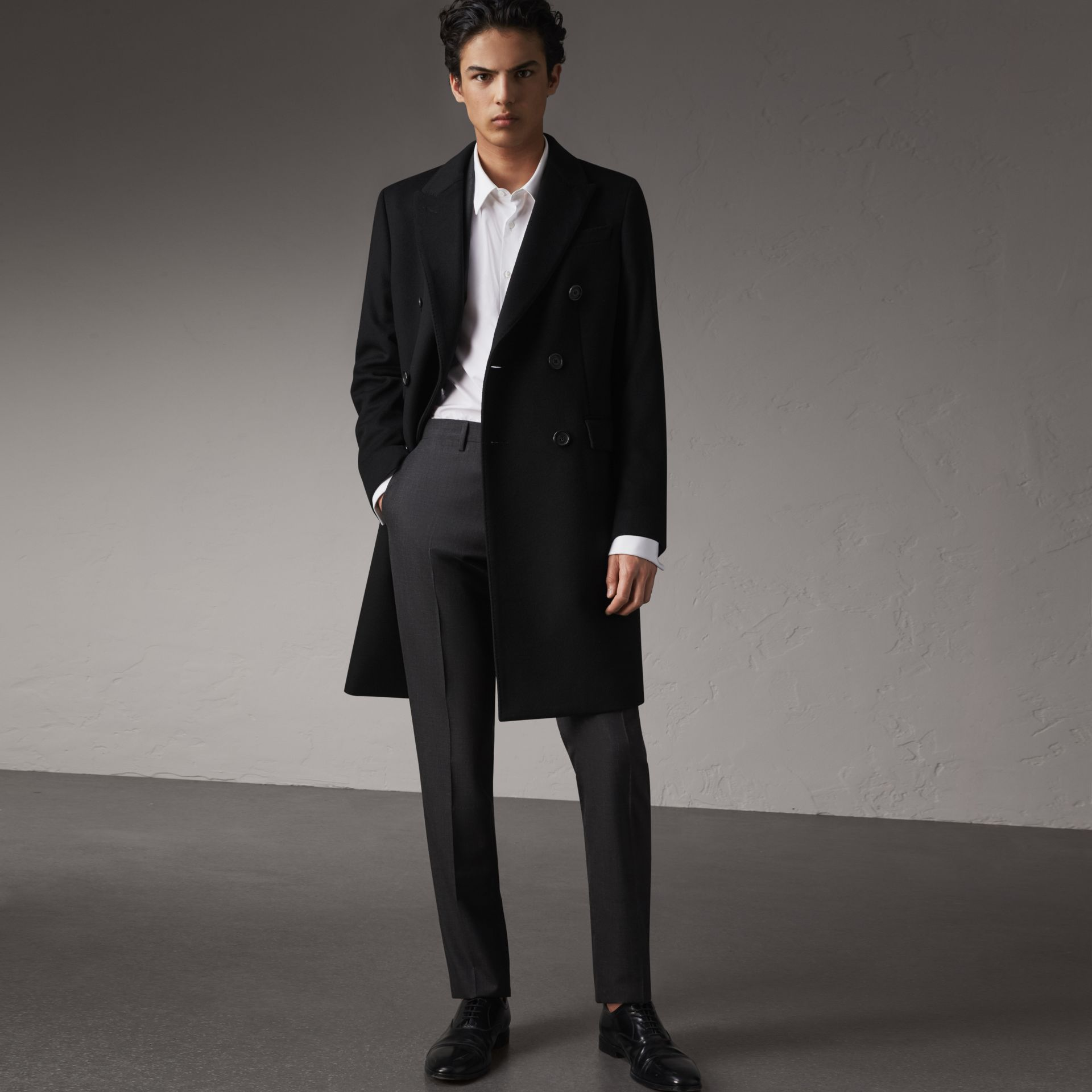Double-breasted Wool Cashmere Tailored Coat in Black - Men | Burberry Hong Kong - gallery image 0