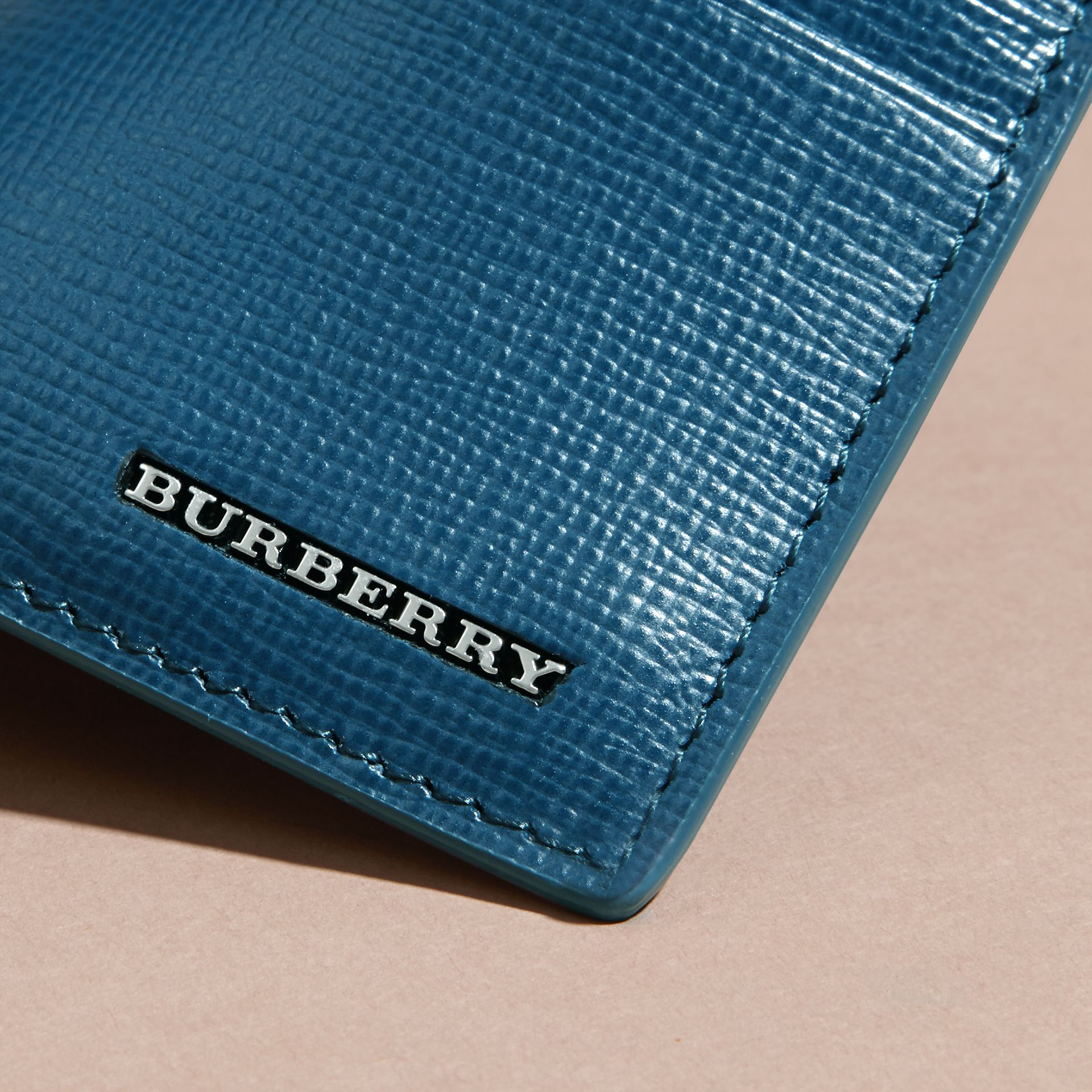 Mineral blue London Leather Card Case Mineral Blue - gallery image 4