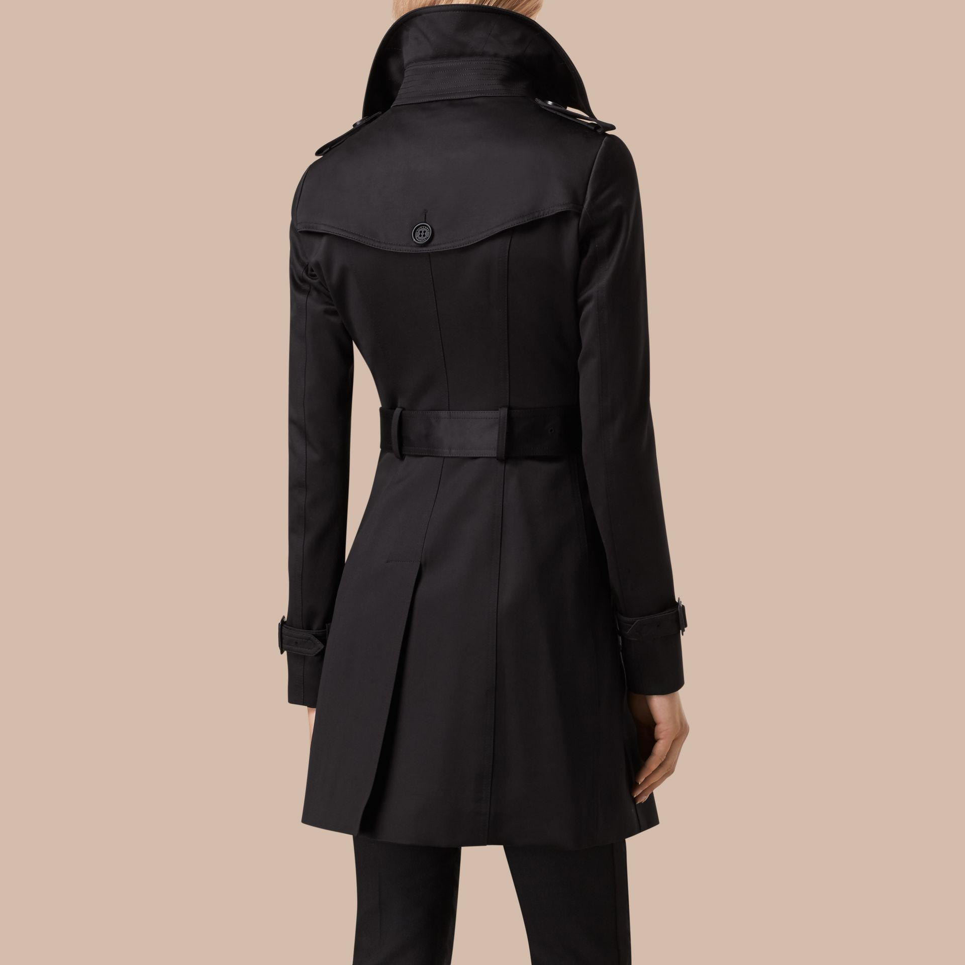 Black Cotton Sateen Trench Coat Black - gallery image 3