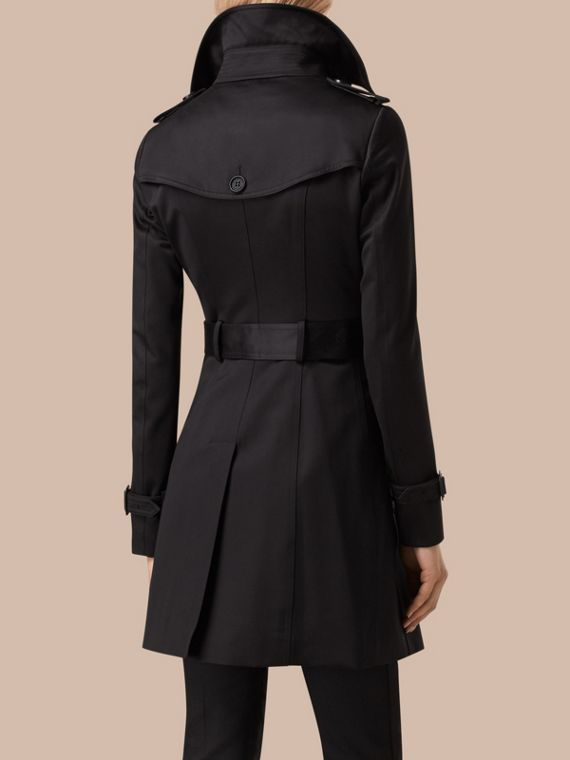 Black Cotton Sateen Trench Coat Black - cell image 2