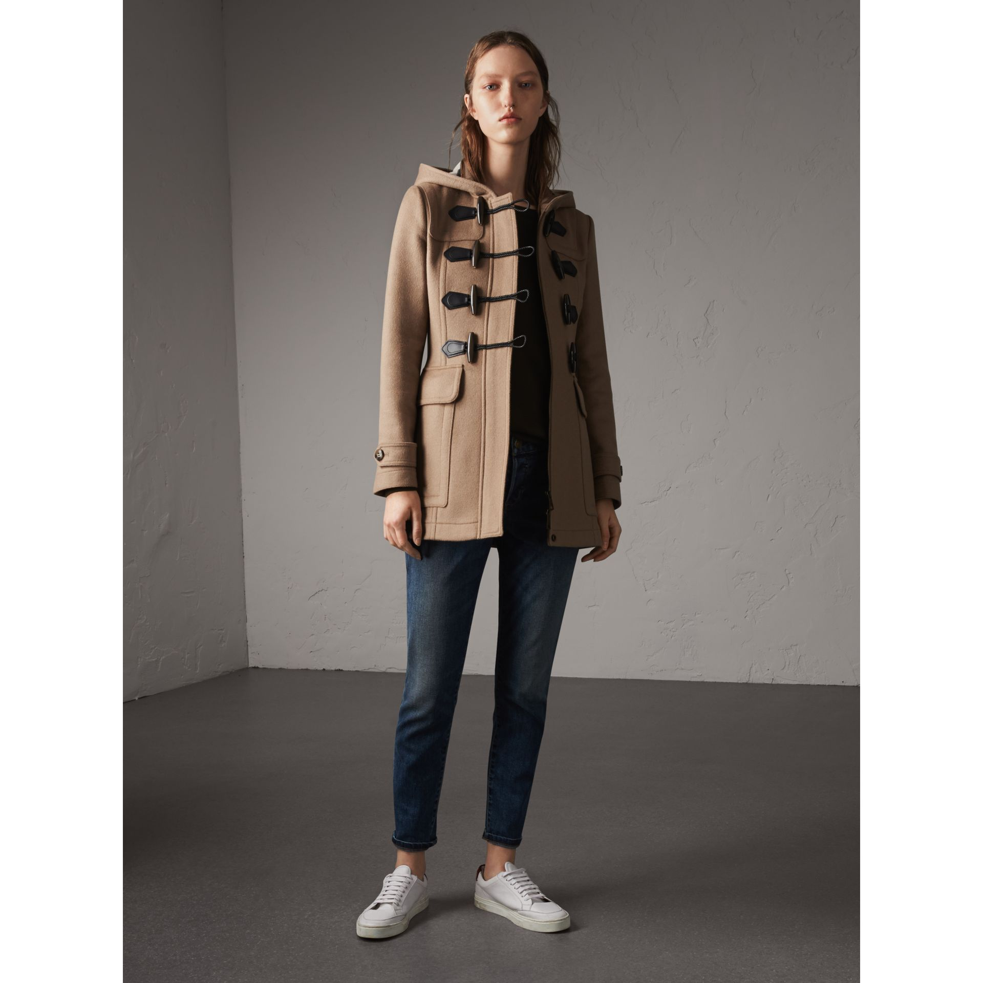 Fitted Wool Duffle Coat in New Camel - Women | Burberry Australia - gallery image 1
