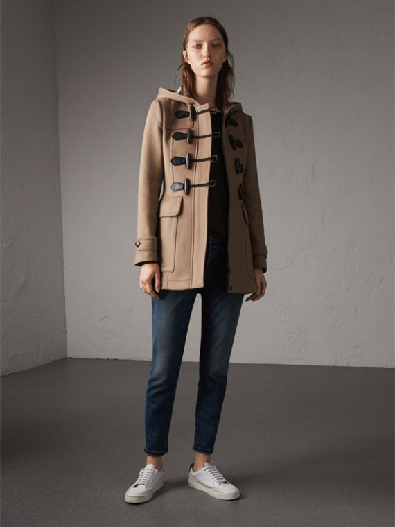 Fitted Wool Duffle Coat in New Camel - Women | Burberry