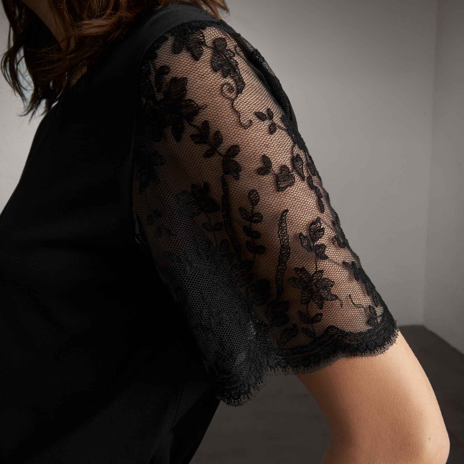 Cotton T-Shirt with Embroidered Tulle Sleeves - Women | Burberry - gallery image 5