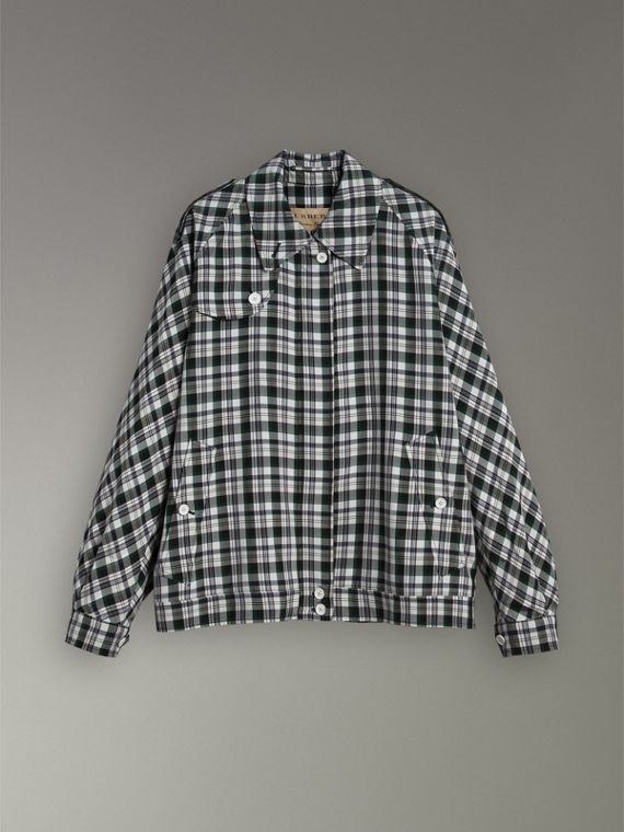 Check Oversized Harrington Jacket in Dark Forest Green - Women | Burberry - cell image 3
