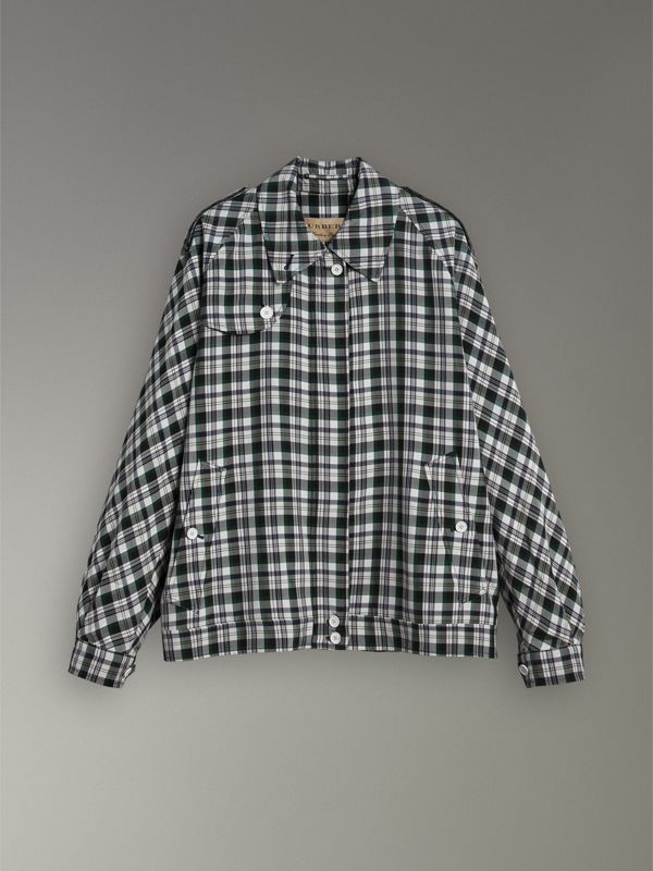 Check Oversized Harrington Jacket in Dark Forest Green - Women | Burberry Australia - cell image 3