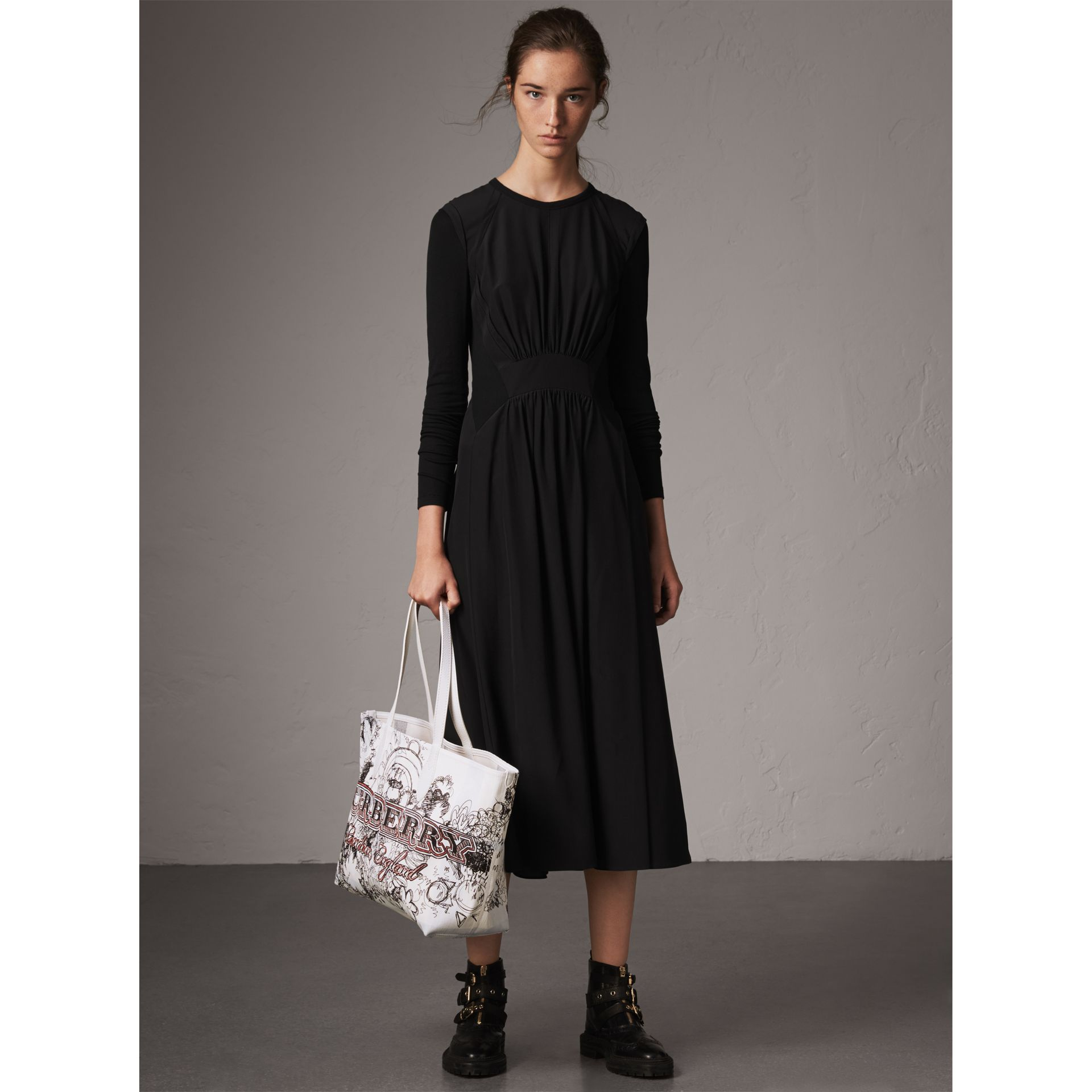 Long-sleeve Silk Gathered Dress in Black - Women | Burberry - gallery image 5