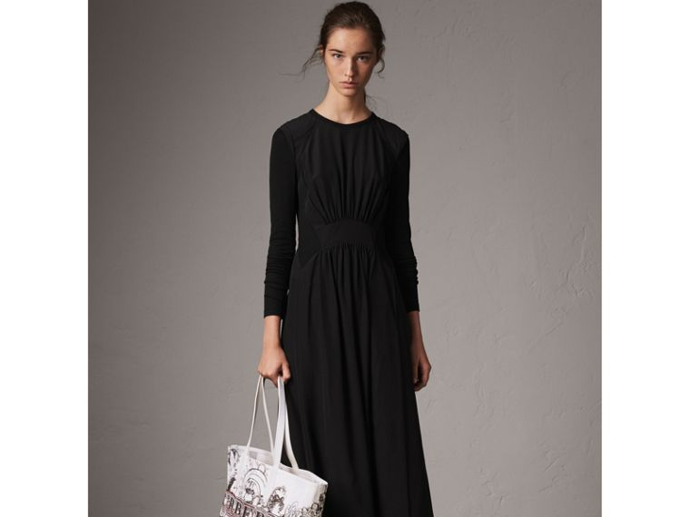 Long-sleeve Silk Gathered Dress in Black - Women | Burberry - cell image 4