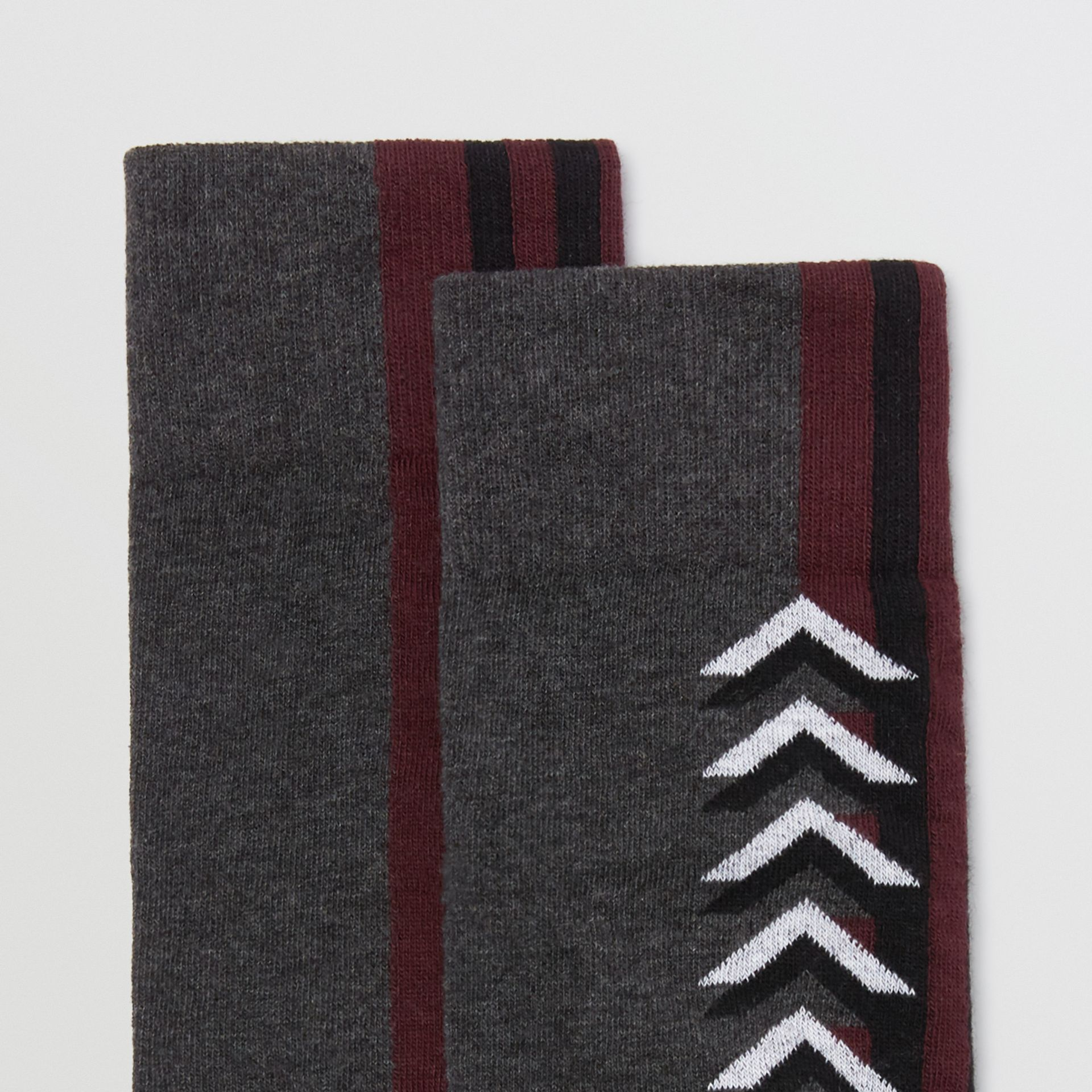 Graphic Intarsia Cotton Blend Socks in Charcoal - Women | Burberry United Kingdom - gallery image 1
