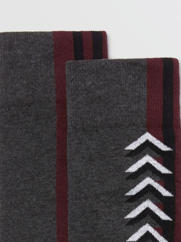 Graphic Intarsia Cotton Blend Socks in Charcoal | Burberry - cell image 1
