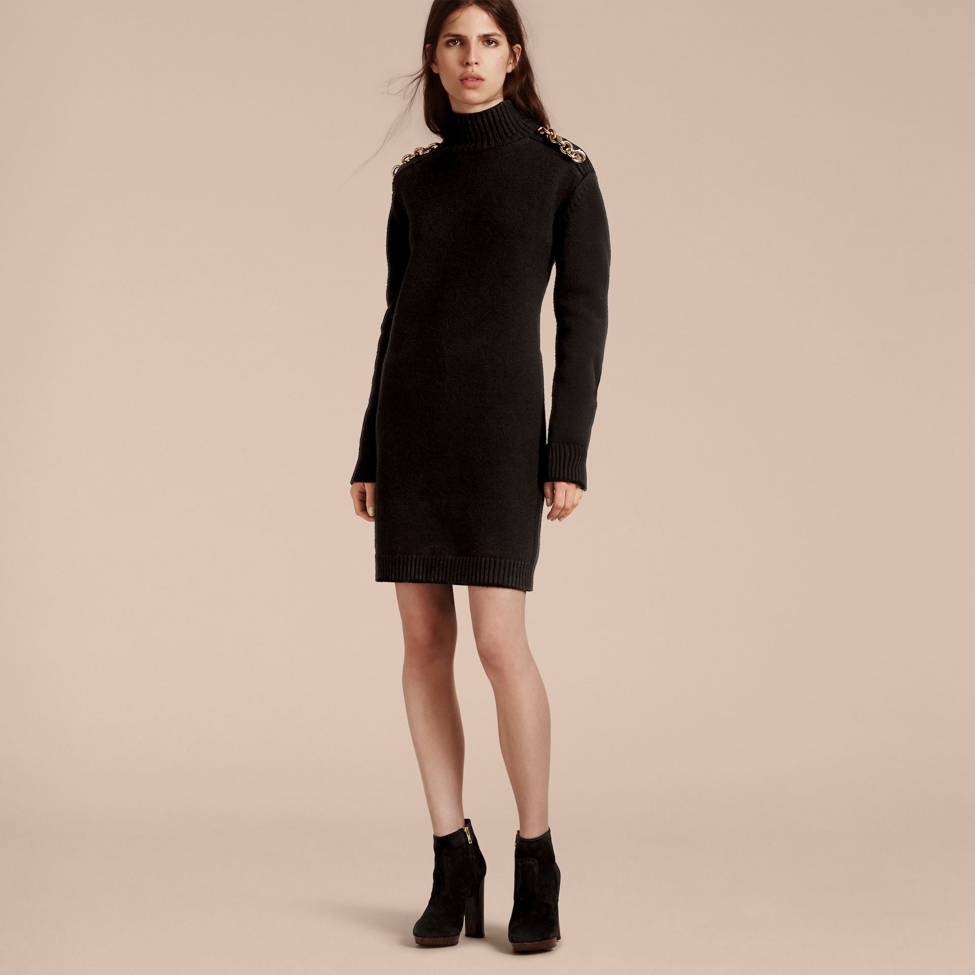 Black Chain Detail Wool Cashmere High-neck Dress Black - gallery image 6