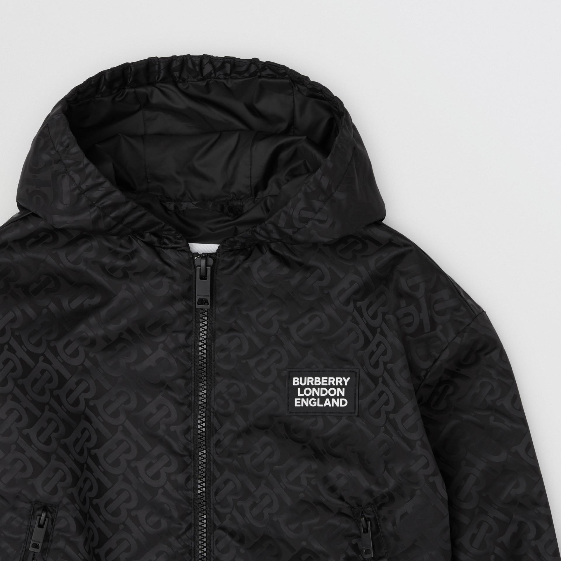 Monogram ECONYL® Hooded Jacket in Black | Burberry United Kingdom - gallery image 4