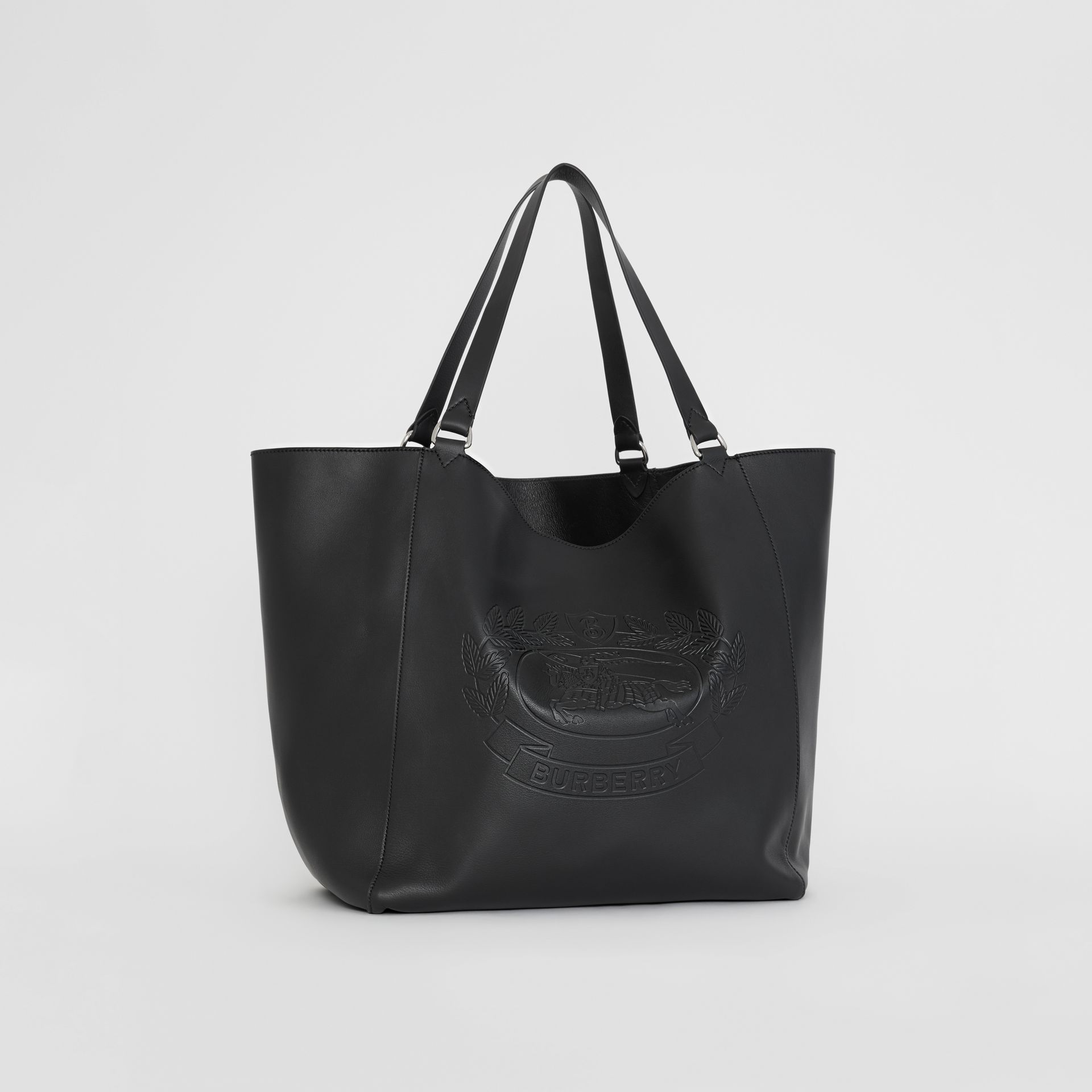 Large Embossed Crest Bonded Leather Tote in Black | Burberry - gallery image 6