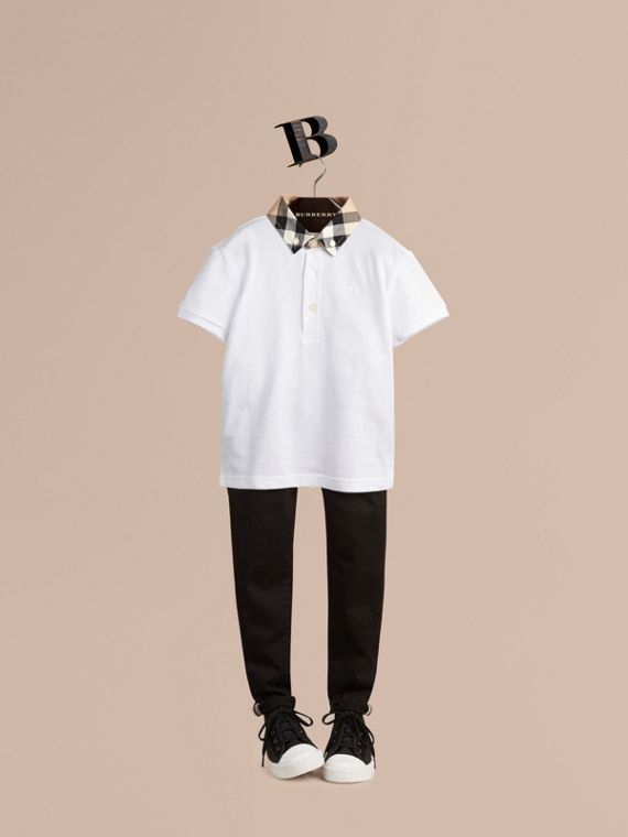 Check Collar Polo Shirt White