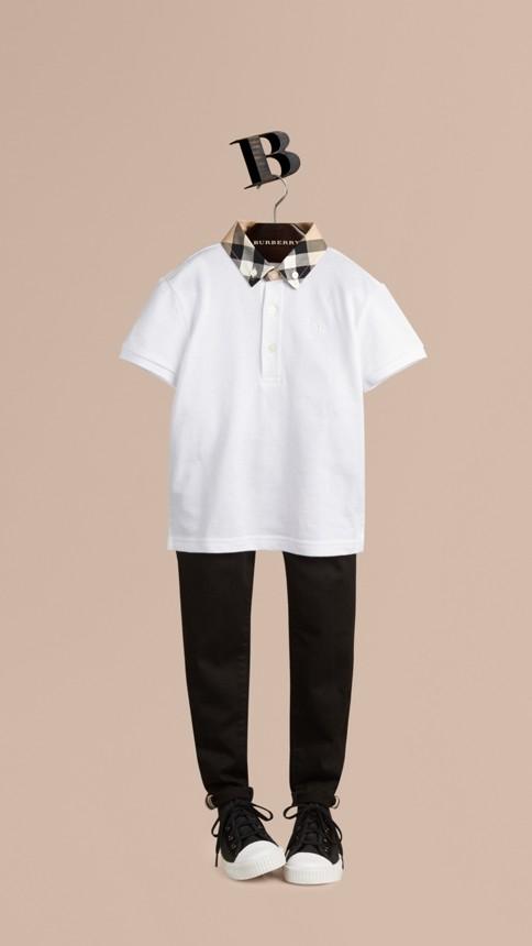 Blanc Polo avec col à motif check Blanc - Image 1