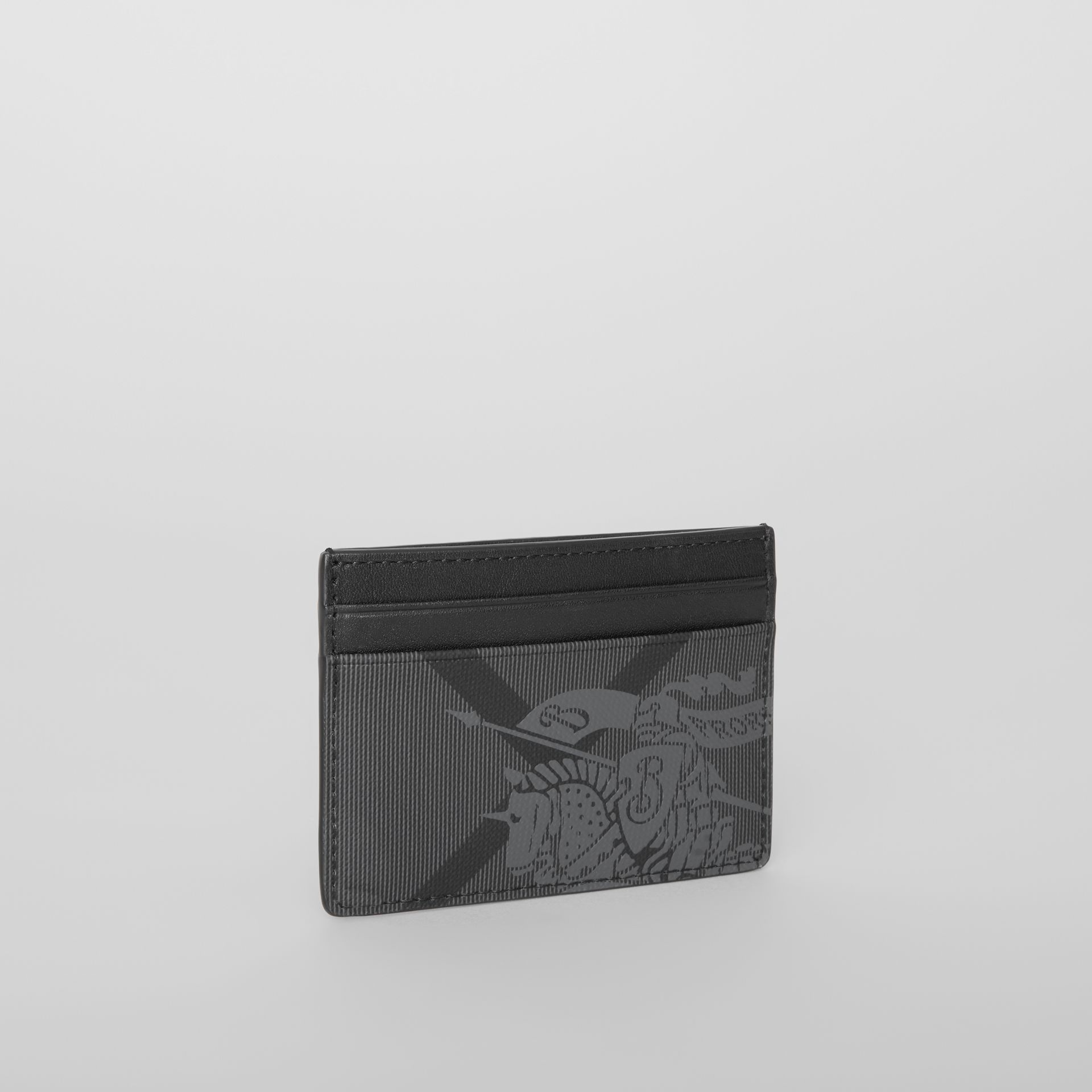 EKD London Check and Leather Card Case in Charcoal/black - Men | Burberry - gallery image 3