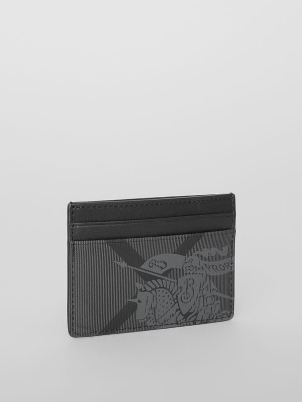 EKD London Check and Leather Card Case in Charcoal/black - Men | Burberry Australia - cell image 3