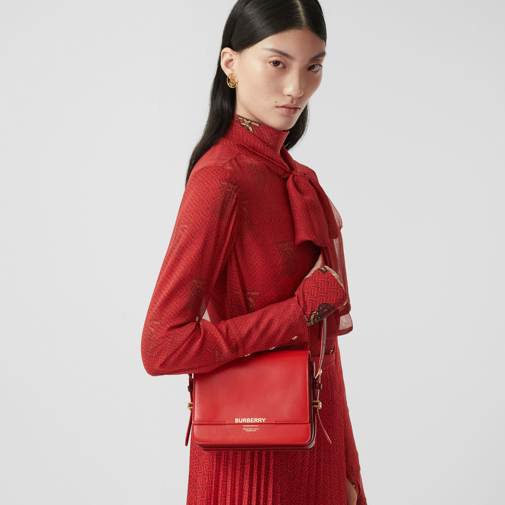 Small Two-tone Leather Grace Bag in Bright Red/burgundy - Women | Burberry - gallery image 2