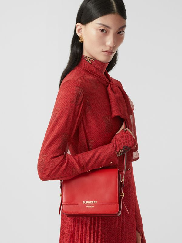 Small Two-tone Leather Grace Bag in Bright Red/burgundy - Women | Burberry - cell image 2