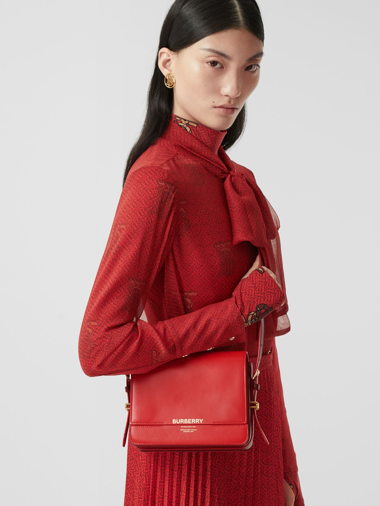 Small Two-tone Leather Grace Bag (Bright Red/burgundy)