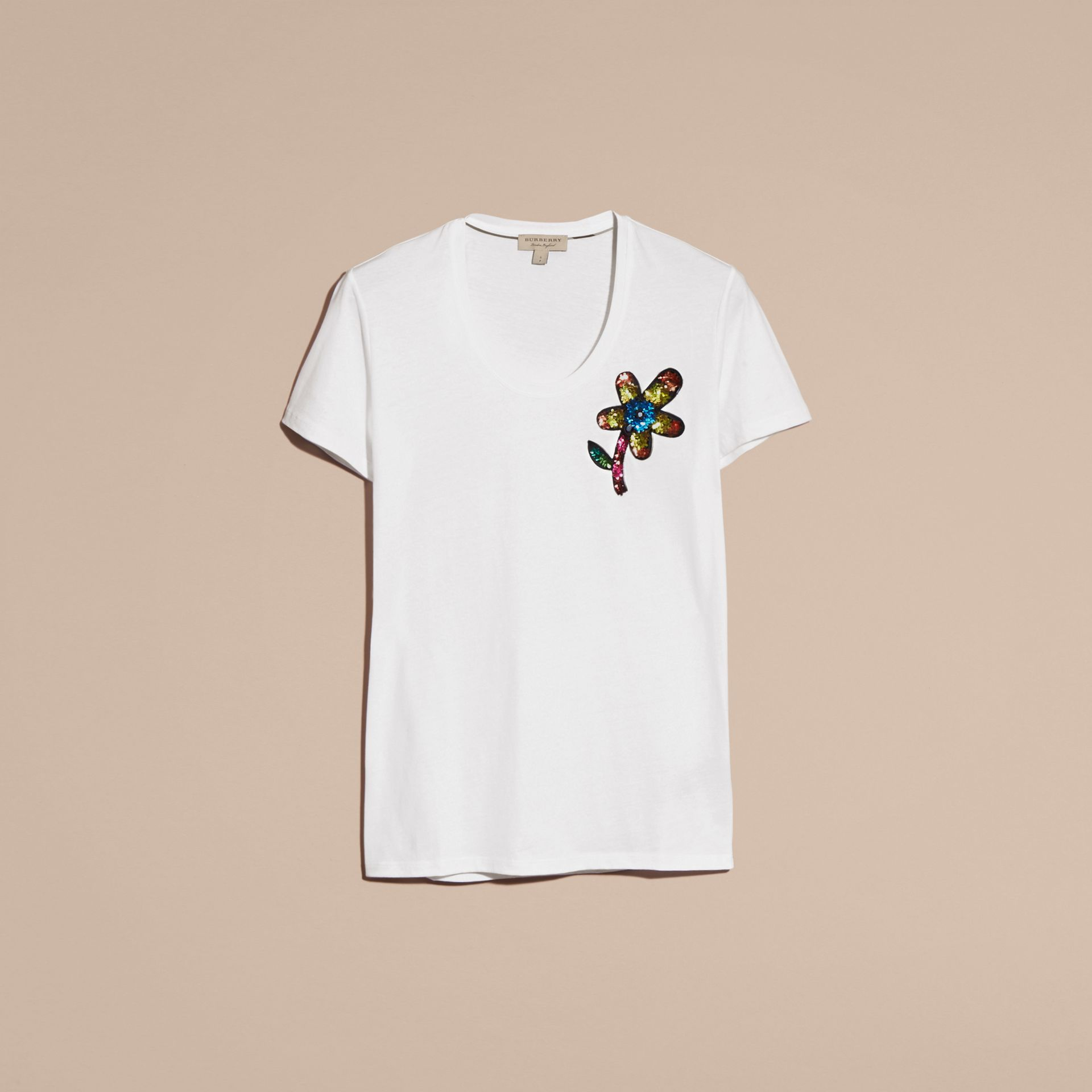 White Sequin Floral Appliqué Cotton T-Shirt White - gallery image 4