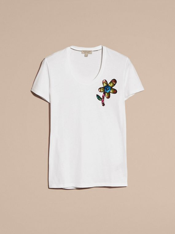 White Sequin Floral Appliqué Cotton T-Shirt White - cell image 3