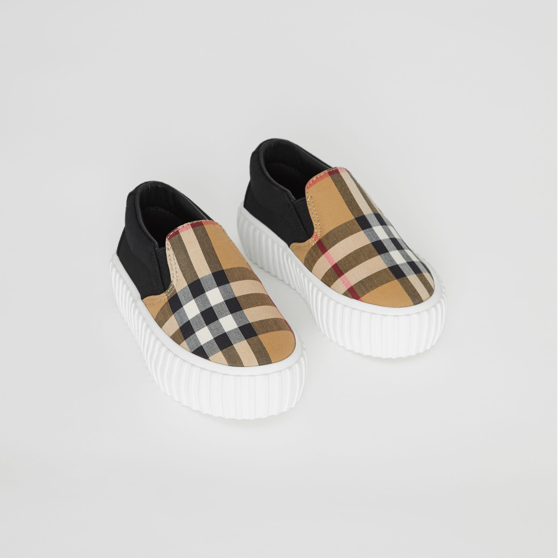 Vintage Check Detail Cotton Slip-on Sneakers in Black/antique Yellow - Children | Burberry - gallery image 0