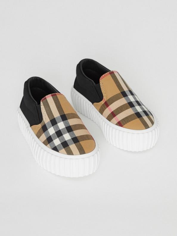 Sneakers sans lacets en coton avec détail Vintage check (Noir/jaune Antique)
