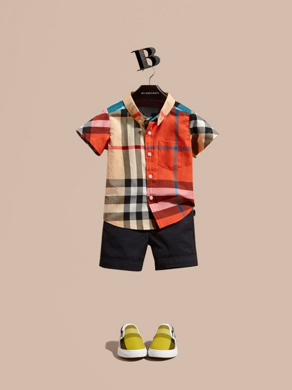 Short-sleeved Contrast Check Cotton Shirt in New Classic | Burberry