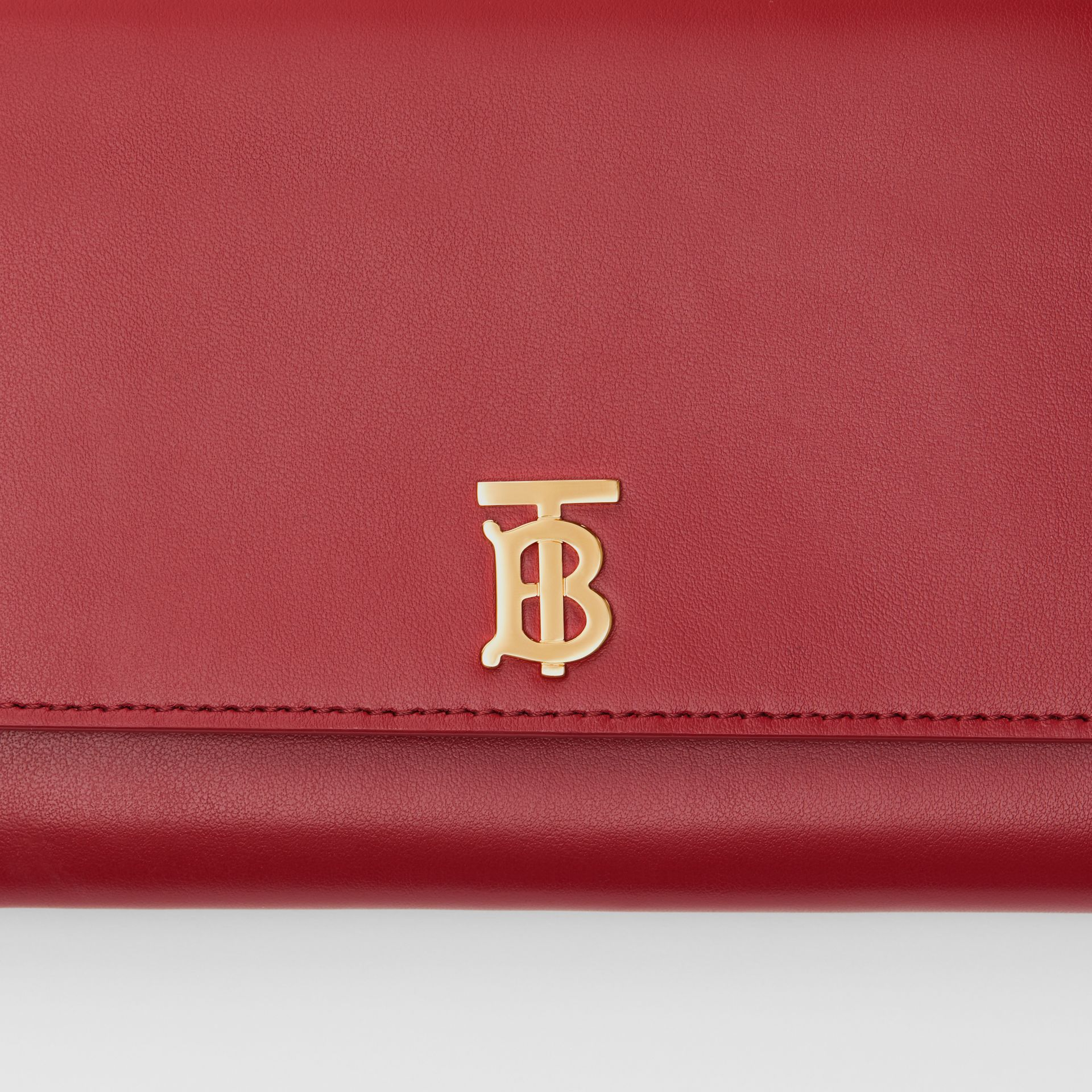 Monogram Motif Leather Wallet with Detachable Strap in Crimson - Women | Burberry - gallery image 1