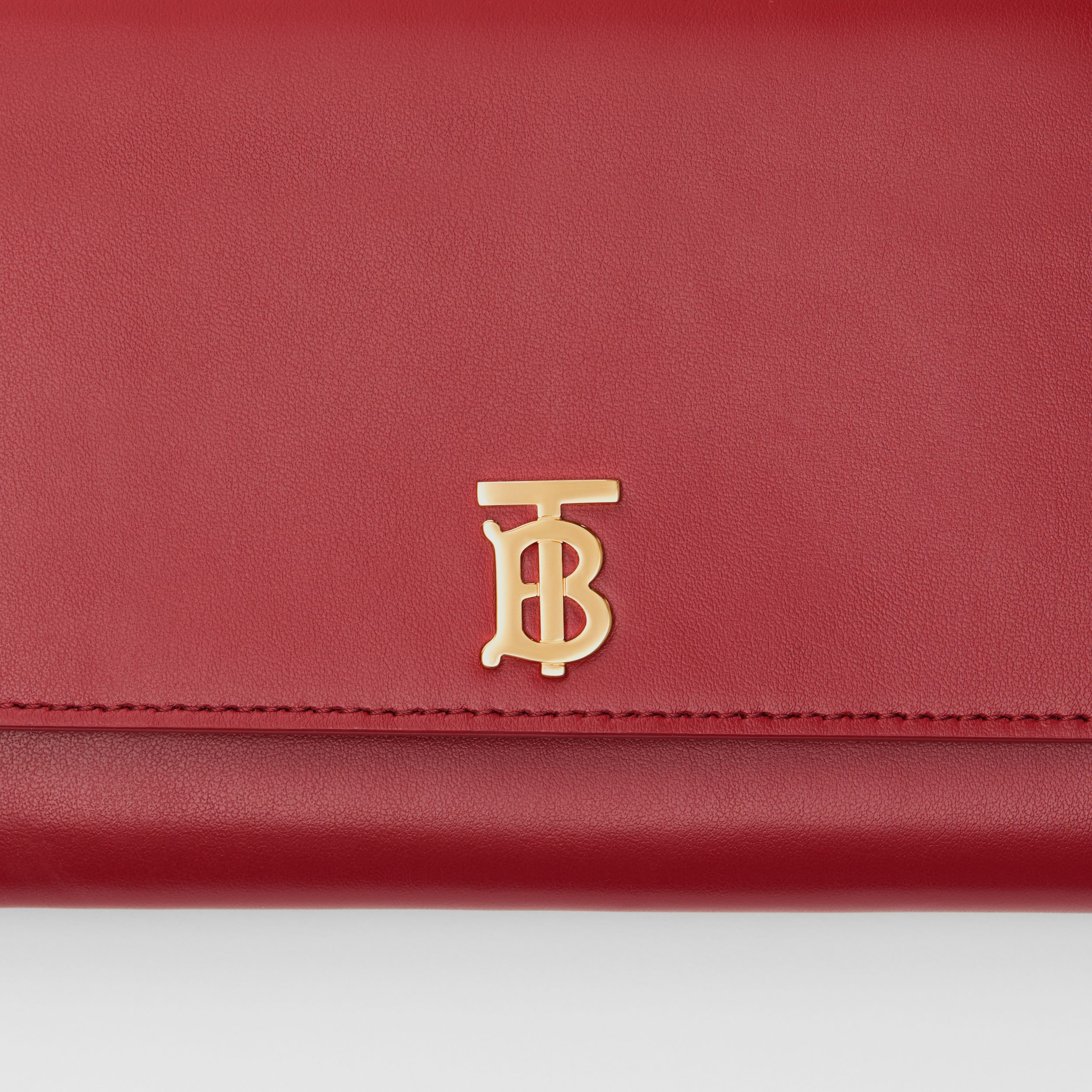 Monogram Motif Leather Wallet with Detachable Strap in Crimson - Women | Burberry - 2