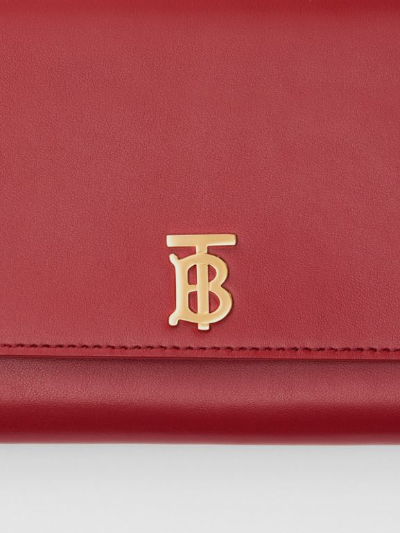 Monogram Motif Leather Wallet with Detachable Strap in Crimson - Women | Burberry United Kingdom - cell image 1