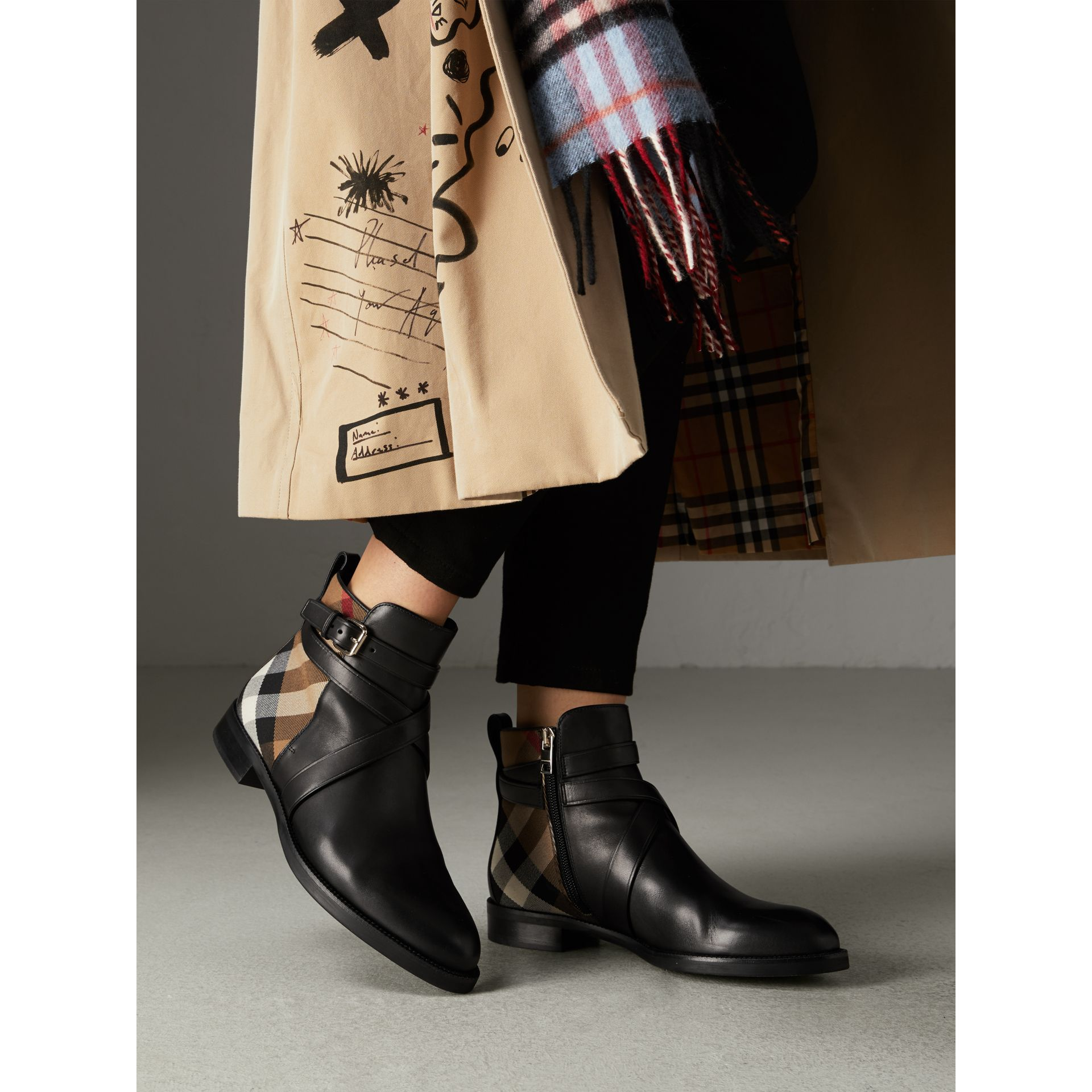 Strap Detail House Check and Leather Ankle Boots in Black - Women | Burberry United States - gallery image 2