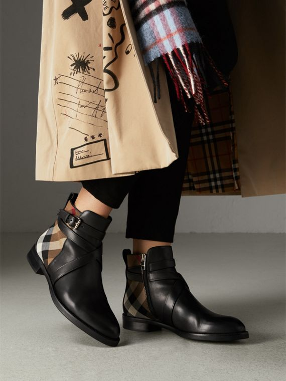Strap Detail House Check and Leather Ankle Boots in Black - Women | Burberry - cell image 2