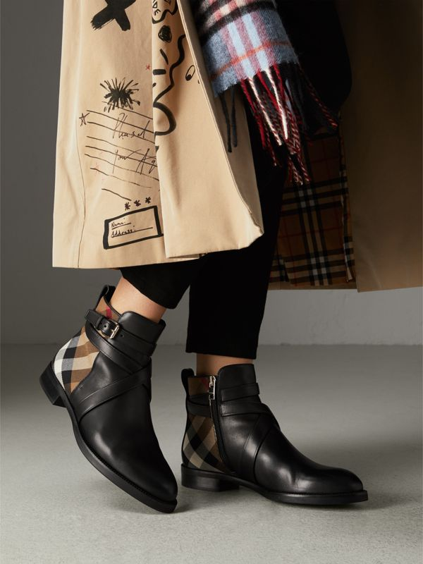 Bottines à bride en cuir et coton House check (Noir) - Femme | Burberry Canada - cell image 2