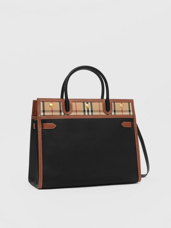 """Kleine Tasche """"Title"""" aus Leder und Vintage Check-Gewebe mit zwei Griffen (Schwarz)"""