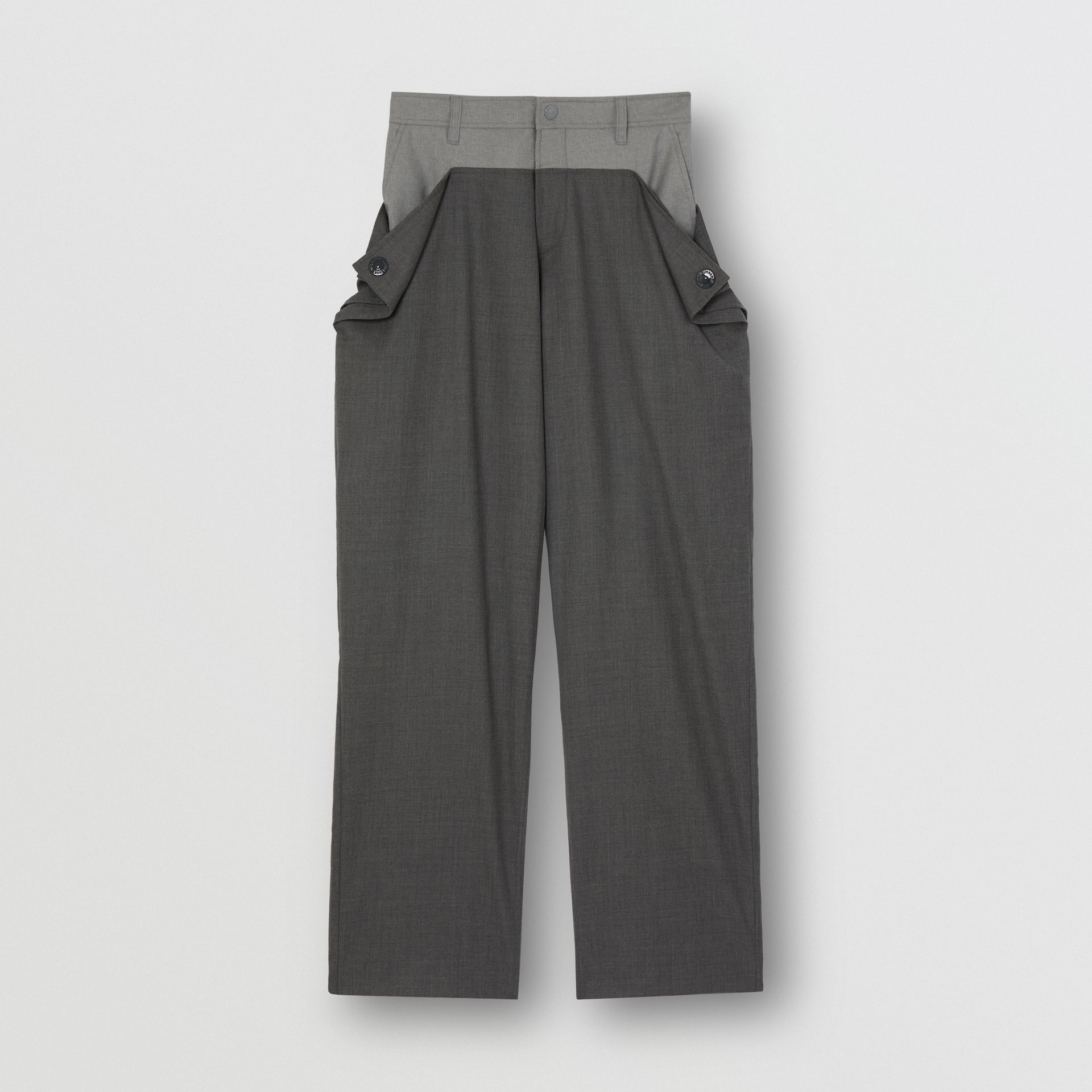 Press-stud Detail Tonal Wool Trousers in Charcoal Grey | Burberry - gallery image 3